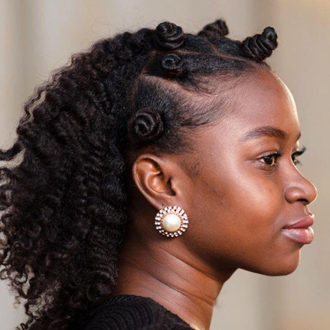 Half Upstyle With Bantu Knots #bantuknots #hairtype #naturalhair #hairstyles