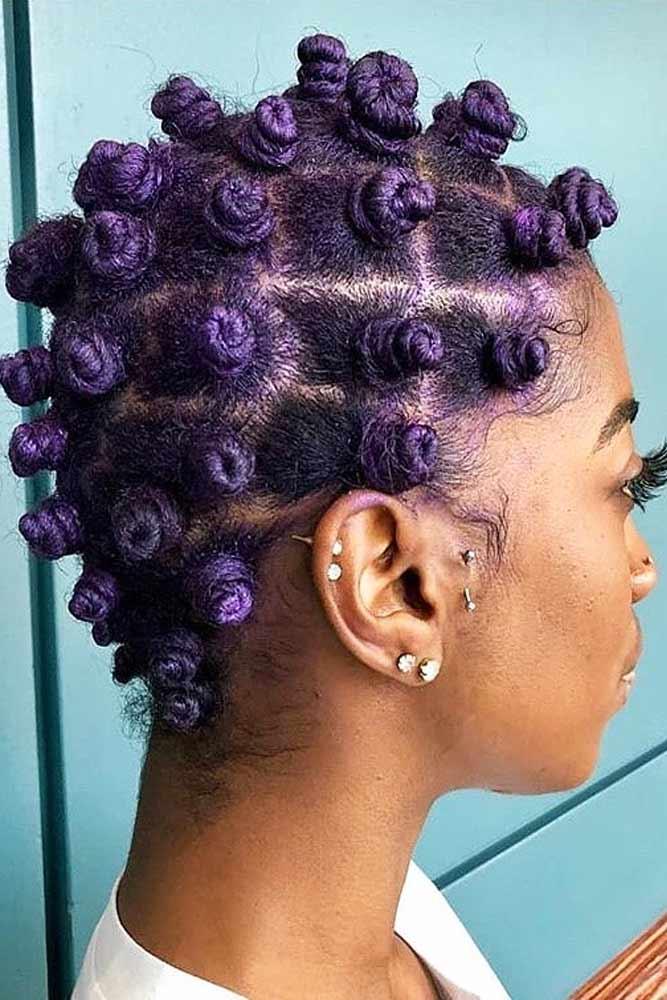 Violet Bantu Knots #bantuknots #hairtype #naturalhair #hairstyles