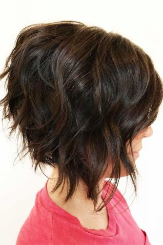 A line Brown Wavy Bob #beachwaves #shorthair #hairstyles #bobhaircut #brownhair