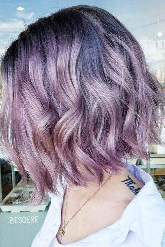 Metallic Lilac Wavy Bob #beachwaves #shorthair #hairstyles #bobhaircut #lilachair