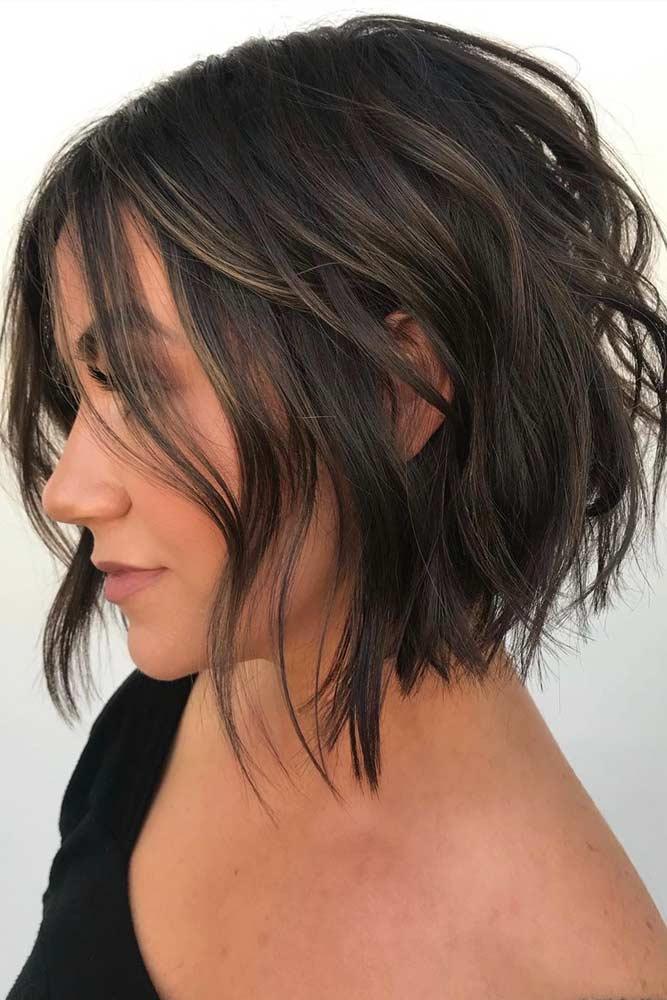 Brown Wavy Bob With Big Waves #beachwaves #shorthair #hairstyles #bobhaircut #brownhair