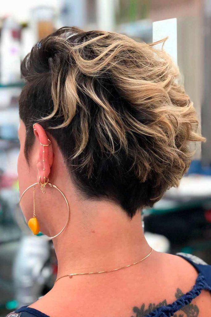 Side Parted Wavy Long Pixie