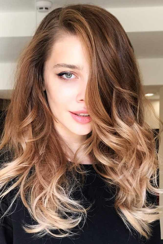 Brown Hair Color With Blonde Ombre #brownhair #blondehair #ombre