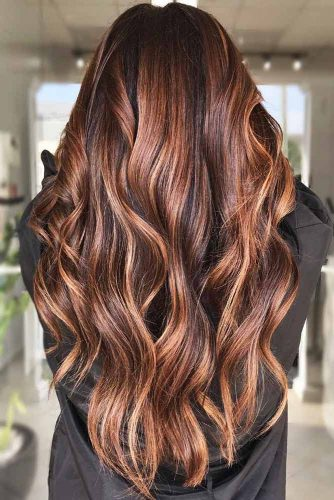 Brunette With Light Chestnut Brown Locks #chestnuthair #brownhair #brunette #highlights