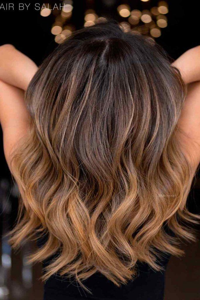 Golden Blonde Highlights For Chestnut Brown