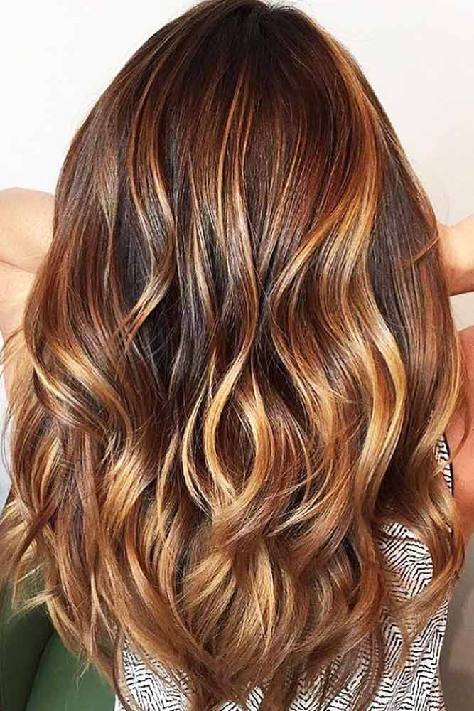 Chestnut Hair Color With Caramel Highlights #brownhair #highlights