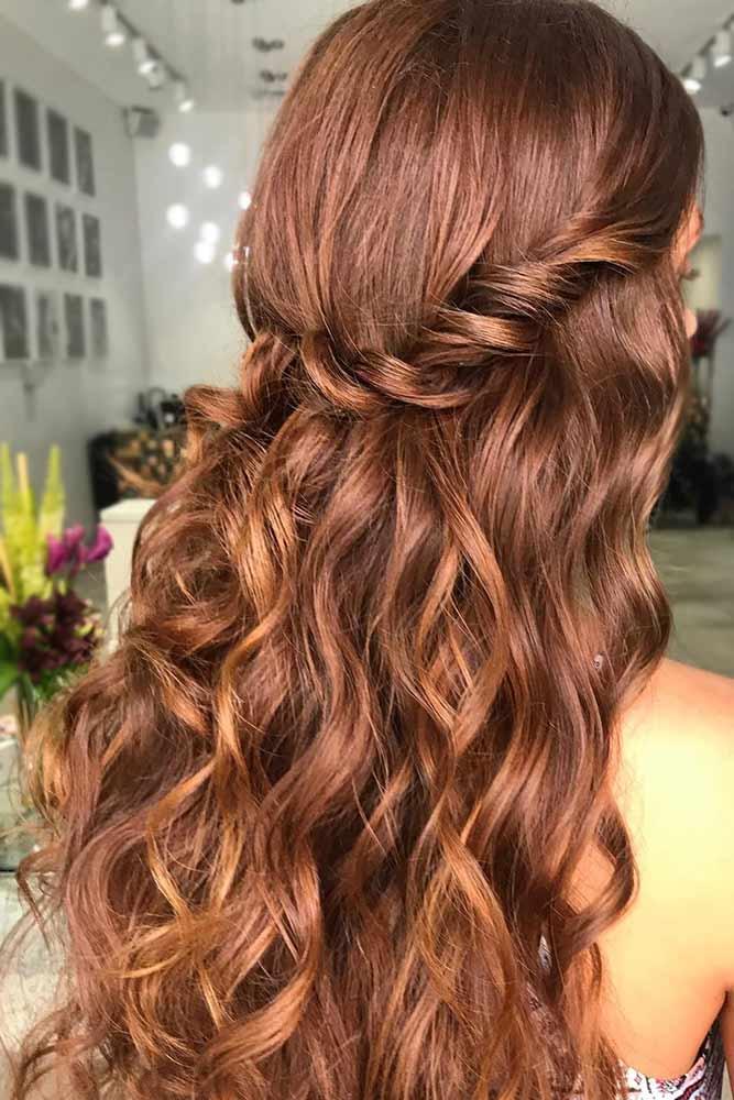 Copper Light Chestnut Brown Hair #brownhair #wavyhair #half-up