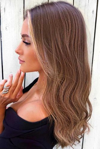 Medium Chestnut Brown Pale Tone #brownhair #wavyhair