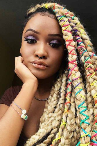 Side Swept Braids With Colorful Ties #crochetbraids #braids