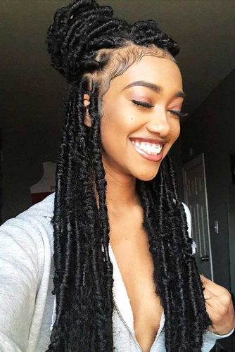 Sumptuous Half-Up Bun For Natural Hair #crochetbraids #braids #longhair #bun