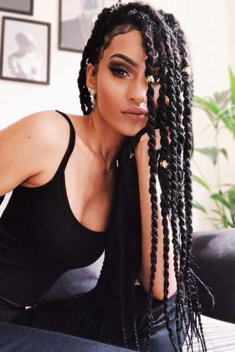 Cute Side Marley Twists #braids #crochetbraids #longhair