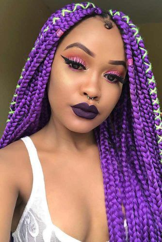 Violet Braids With Hair Ties #crochetbraids #braids