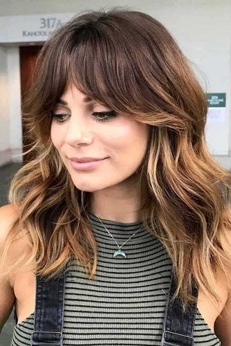 Center Parted Bangs For Square Face Shape #faceshapes #squareface