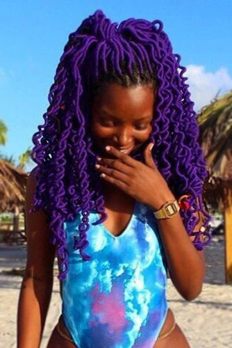 Half-Up Purple Faux Locs Hairstyle #fauxlocs #half-up #violethair