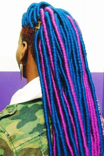 Bright And Colorful Faux Locs #fauxlocs #longhair #bluehair #pinkhair