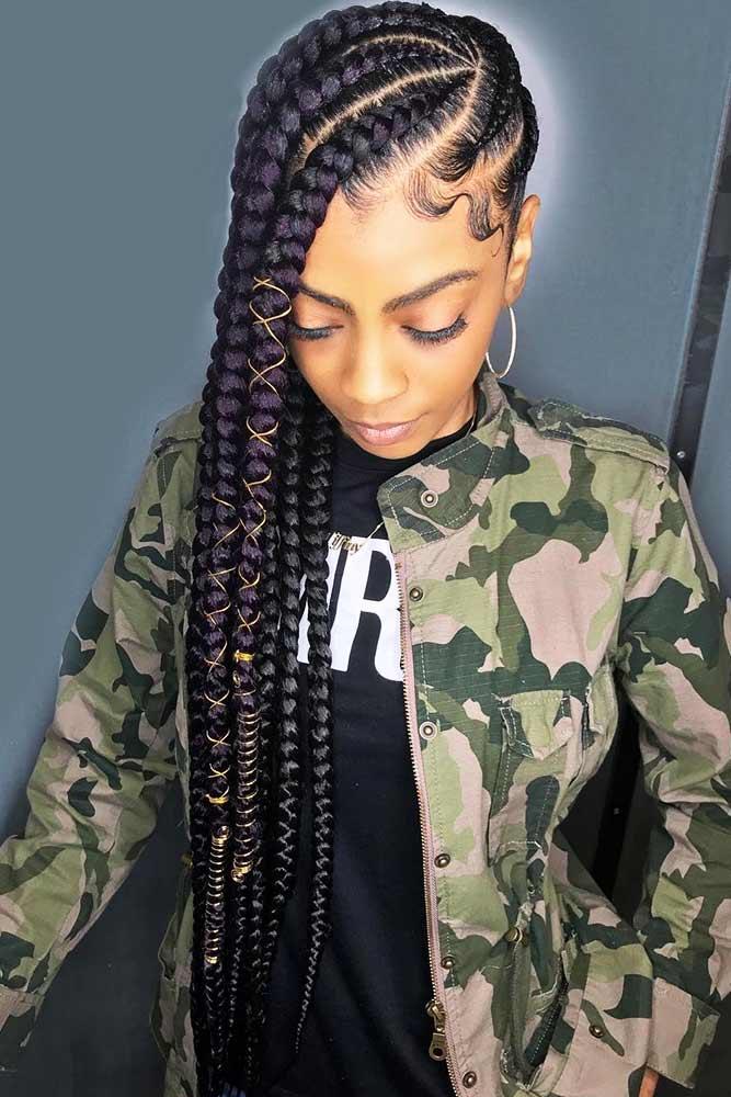 Asymmetrical Braided Hairstyle #braids