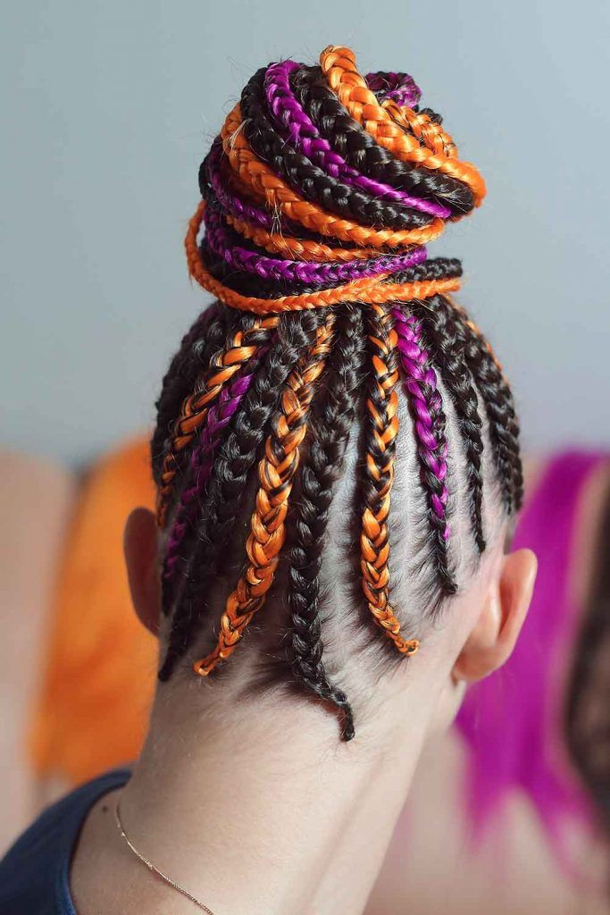 Goddess Braids Into A Dramatic High Bun