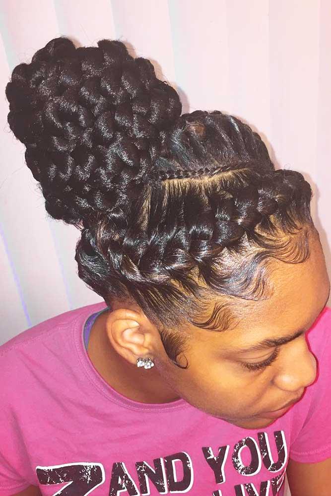Fantastic Double Goddess Braids Into Bun #goddessbraids #braids #updo