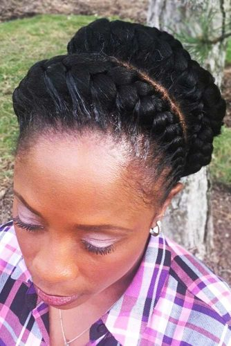 Chic Double Goddess Braids Crown #goddessbraids #braids #updo