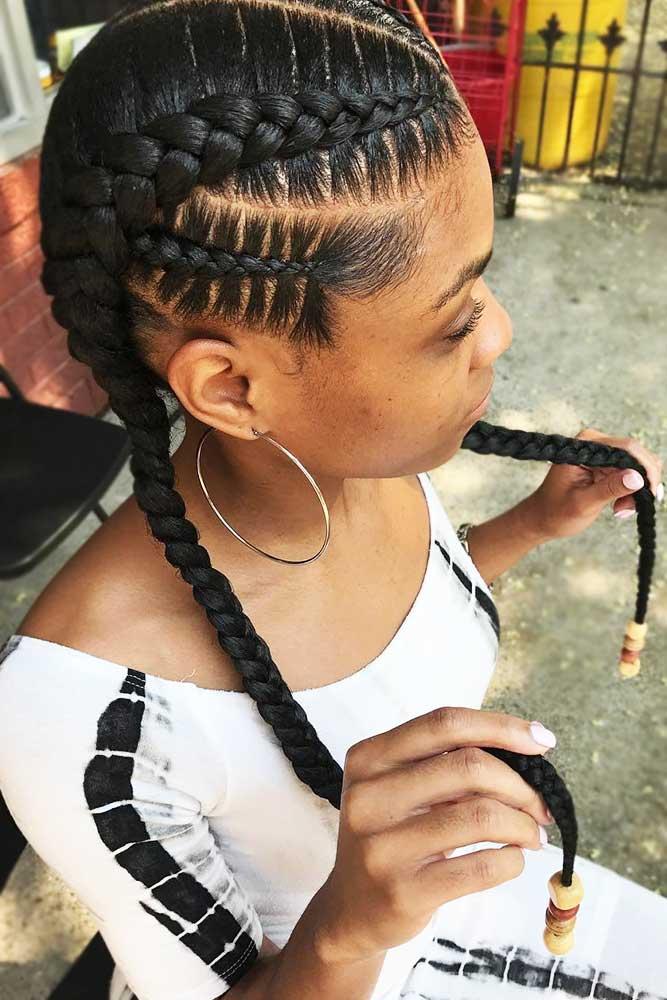 Double Goddess Braids With Beads #goddessbraids #braids #longhair