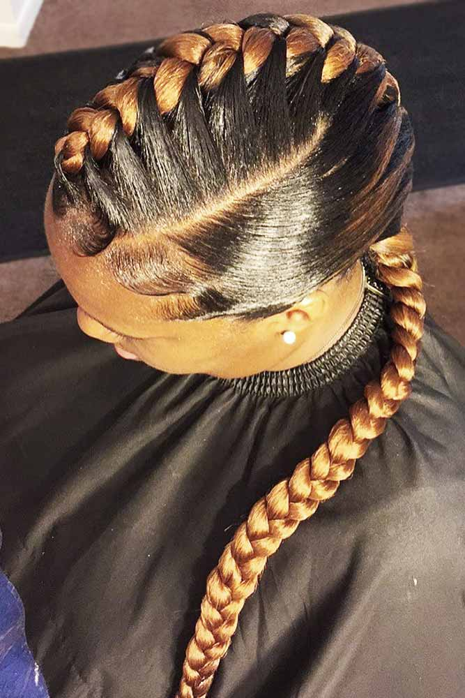 Goddess Braids Faux Hawk Hairstyle #goddessbraids #braids #longhair
