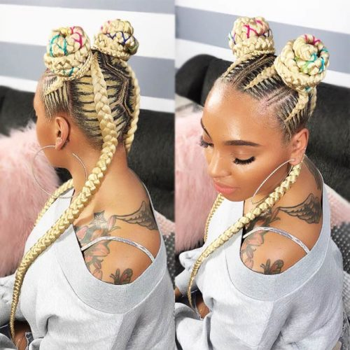Cute Space Buns Half-Up #goddessbraids #braids #bun