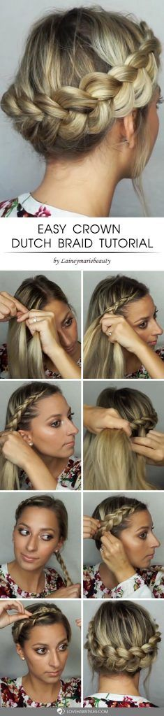 Easy Crown Dutch Braid Tutorial #howtodutchbraid #dutchbraid #tutorials #braids #hairstyles