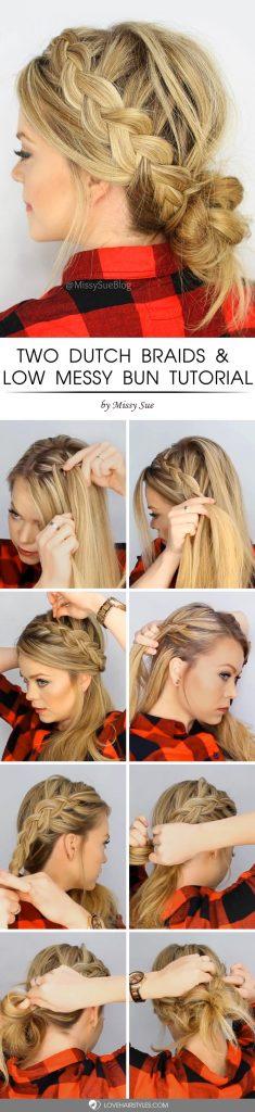 Two Dutch Braids & Low Messy Bun Tutorial #howtodutchbraid #dutchbraid #tutorials #braids #hairstyles