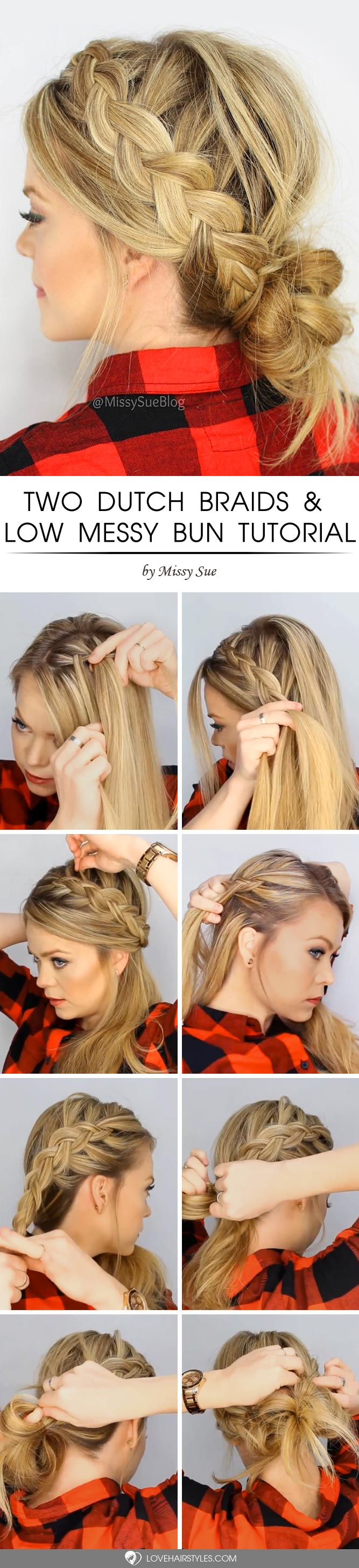 Two Dutch Braids & Low Messy Bun Tutorial #howtodutchbraid #dutchbraid #tutorials #braids #hairstyles