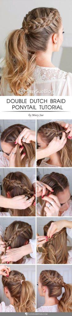 Double Dutch Braid Ponytail Tutorial #howtodutchbraid #dutchbraid #tutorials #braids #hairstyles
