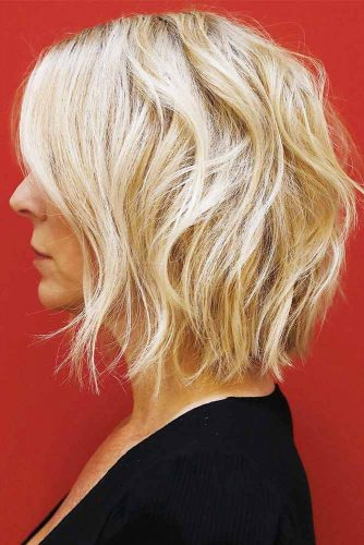 Bob Haircut With Messy Waves #bob #wavyhair #mediumhair