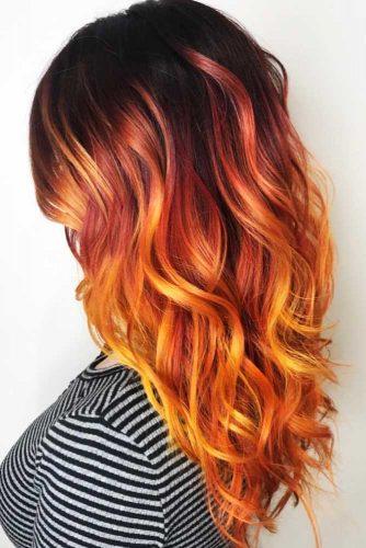Magnificent Black-To-Orange Transition #orangehair #ombre #brunette