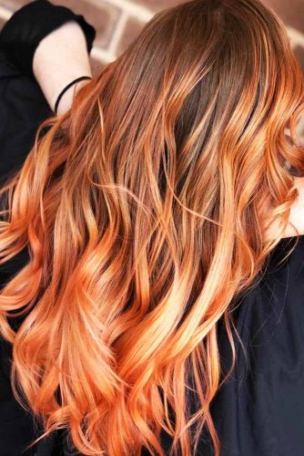 Bronze Orange Balayage #orangehair #brunette #balayage