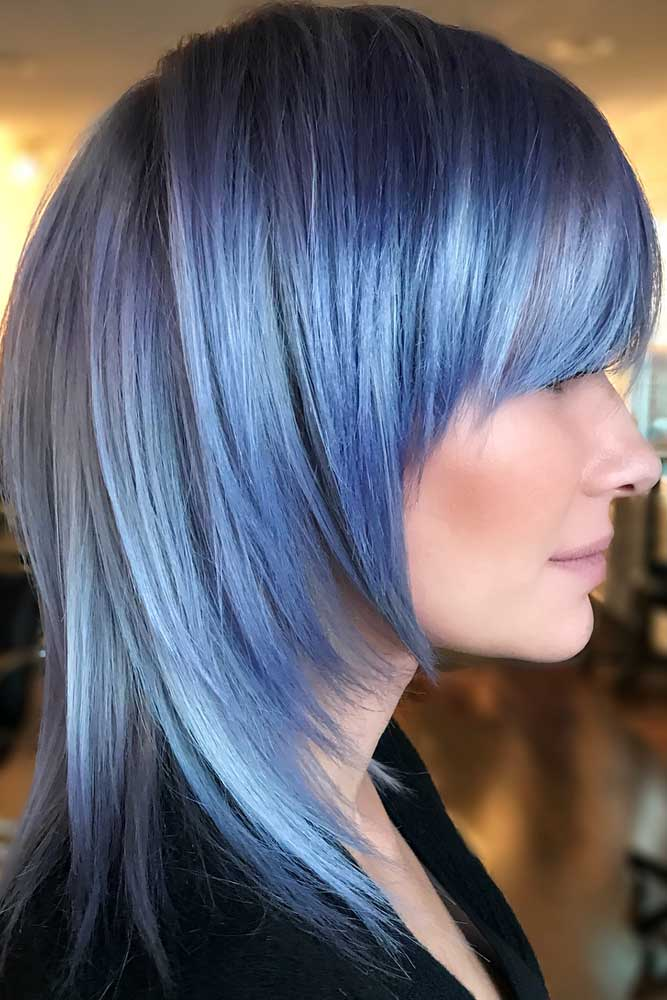 Blue Medium Pageboy Haircut #pageboyhaircut #haircuts #bangs