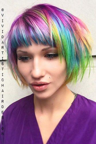 Bright And Colorful Pageboy Haircut #pageboyhaircut #shorthaircut #haircuts #bangs #straighthair