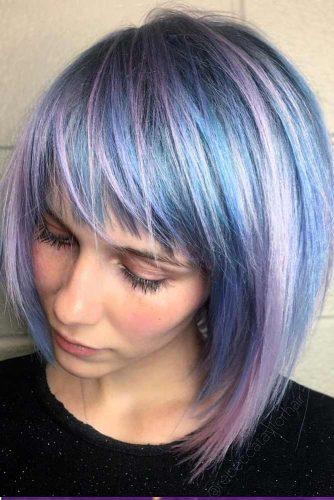 Pastel Colors Side Swept Bangs #pageboyhaircut #shorthaircut #haircuts #bangs #straighthair