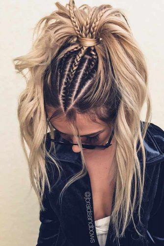 Tight Braided Top With High Ponytail #ponytail #ponytailhairstyles #hairstyles #longhair #blondehair