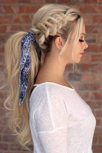 Braided Ponytail With Head Scarf  #ponytail #ponytailhairstyles #hairstyles #longhair #blondehair