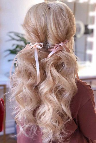Low Ponytails With Ribbons #ponytail #ponytailhairstyles #hairstyles #longhair