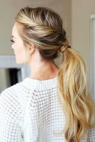 Delicate Twisted Low Pony #ponytail #ponytailhairstyles #hairstyles #longhair #blondehair