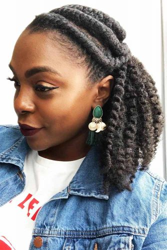 Half-Up Cornrow Twisted Hairstyle #braids #half-up #mediumhair