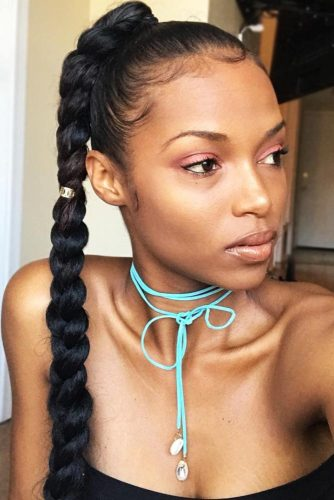 Sleek Pony Senegalese Twist #braids #ponytail