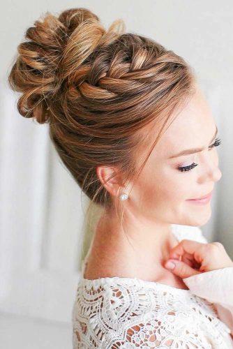 Delicate Dutch Braid Into Bun #updo #longhair #bun #braids