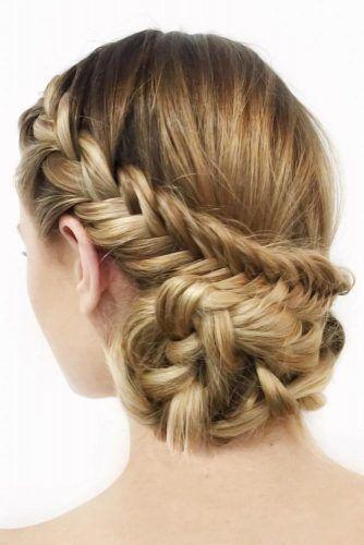 Fishtail Braid Into Bun Hairstyle #longhair #updo