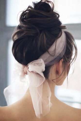 Wavy Updo With Bow #longhair #updo