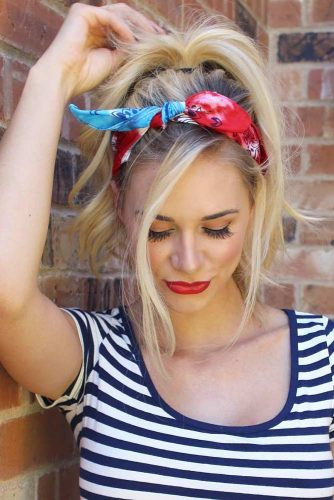 Cute High Pony With Stylish Headscarf #hairstyles #longhairstyles #faceshapes #ponytail