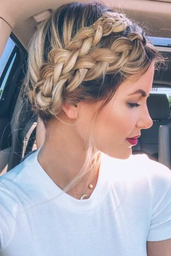 Super Feminine Milkmaid Braids #hairstyles #longhairstyles #faceshapes #braids
