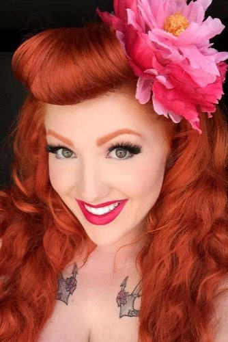 Retro Inspired Pin Up Curly Bangs #hairstyles #longhairstyles #faceshapes #bangs