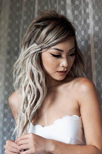 Sleek Bangs Secured By Bobby Pins #hairstyles #longhairstyles #faceshapes #bangs