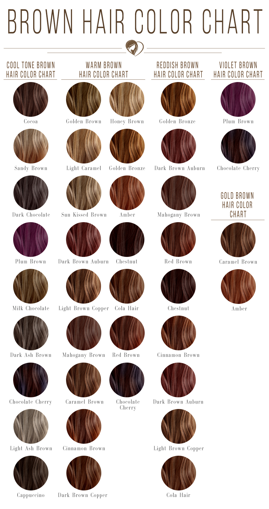 40 Shades Of Brown Hair Color Chart To